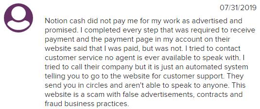NotionCash.co BBB Complaint 1