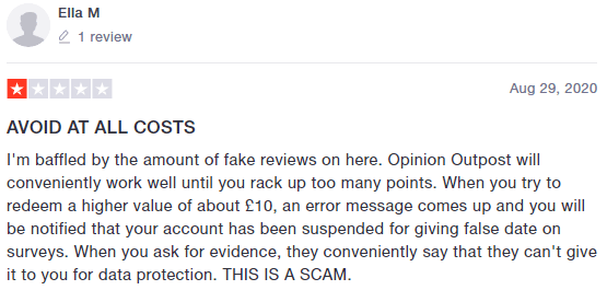 Opinion Outpost Trustpilot Account Termination Complaint 2