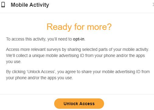 OpinionWorld Mobile Activity