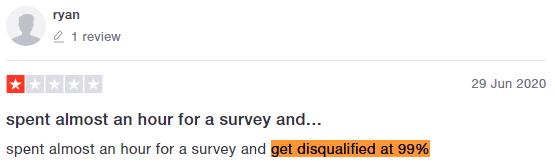 OpinionWorld Survey Disqualification Trustpilot Testimonial