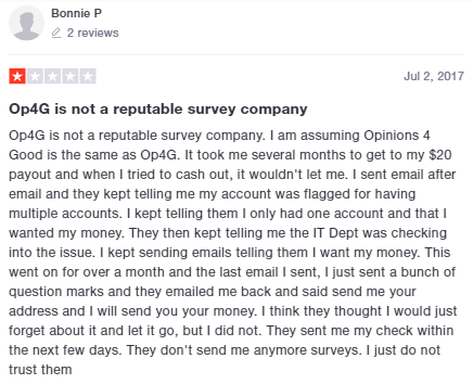 Opinions 4 Good Delayed Payment Trustpilot Testimonial 2