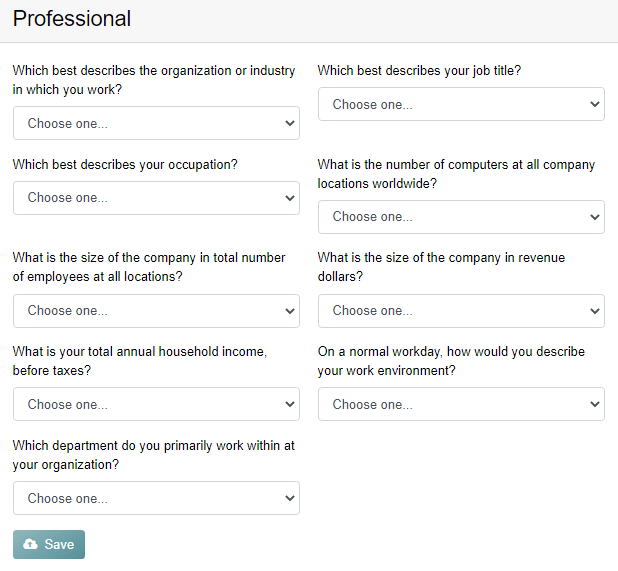 Opinions 4 Good Professional Profile Questionnaire