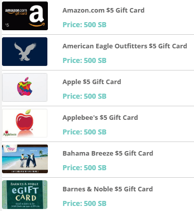 Swagbucks Gift Cards Redemption