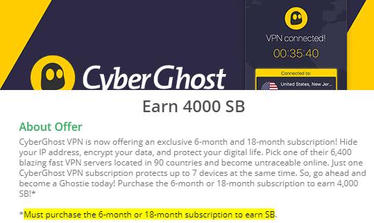 Swagbucks Purchase CyberGhost Plan To Receive 4000 SB
