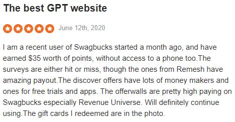 Swagbucks Sitejabber Positive Testimonial 1