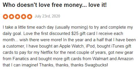 Swagbucks Sitejabber Positive Testimonial 3