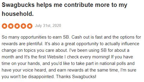 Swagbucks Sitejabber Positive Testimonial 4