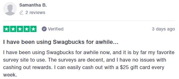 Swagbucks Trustpilot Positive Testimonial 3