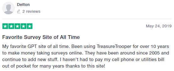 Treasure Trooper Trustpilot Positive Review