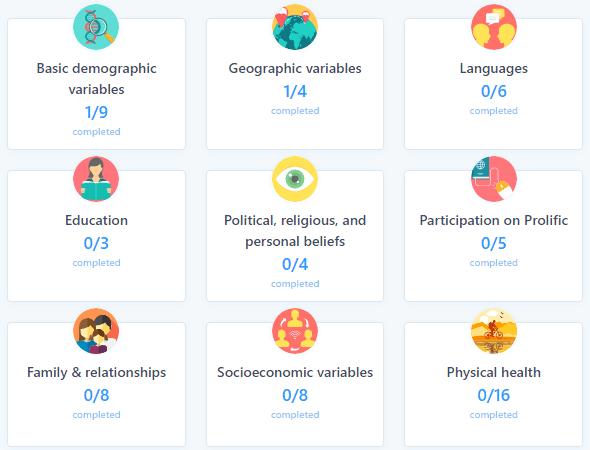 Prolific Demographic Profile Questionnaires