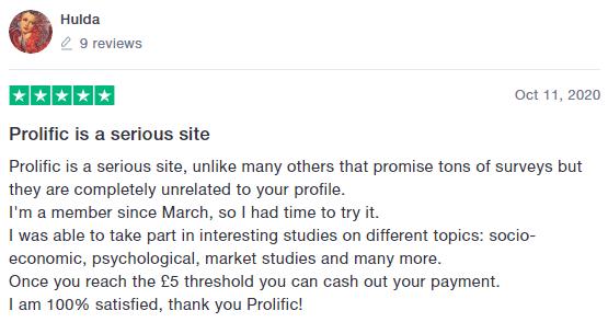 Trustpilot Positive Prolific Review 2