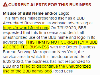 BBB Alert About RewardsFeed