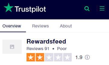 RewardsFeed Trustpilot Rating