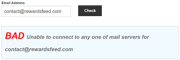 RewardsFeed.com Fake Email Address