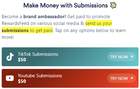 RewardsFeed.com YouTube And TikTok Submissions