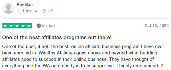 Trustpilot Positive Wealthy Affiliate Review 1
