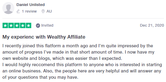Trustpilot Positive Wealthy Affiliate Review 4