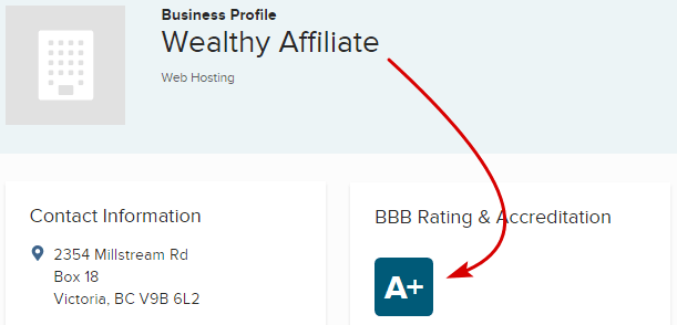 Wealthy Affiliate BBB A+ Rating