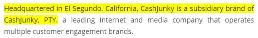 CashJunky.co Company Info And US Address