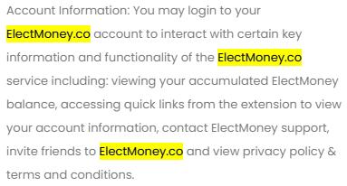 ElectMoney.com Inconsistent Terms And Conditions