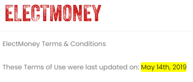 ElectMoney.com Terms And Conditions Update Date