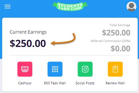 StudentsEarnCash.co Fake Account Balance