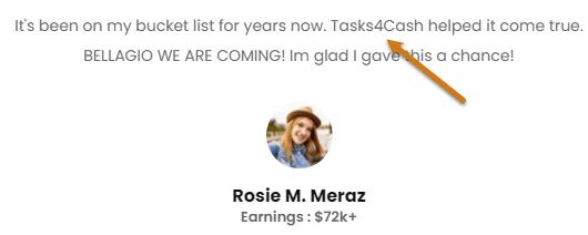 Tasks4Cash.com Fake Positive Testimonial 1