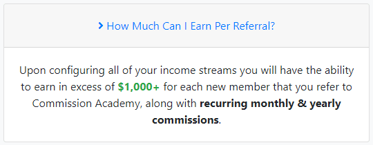 Commission Academy Affiliate Program Potential Earnings Per Referral