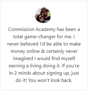 Commission Academy Positive Testimonial 1