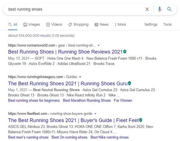 Google's Search Results For Best Running Shoes