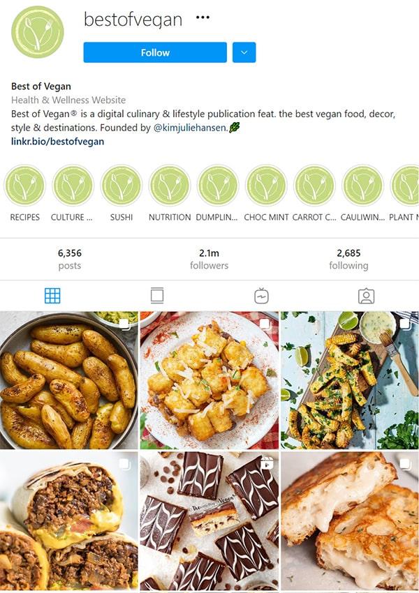 Vegan Instagram Account Example