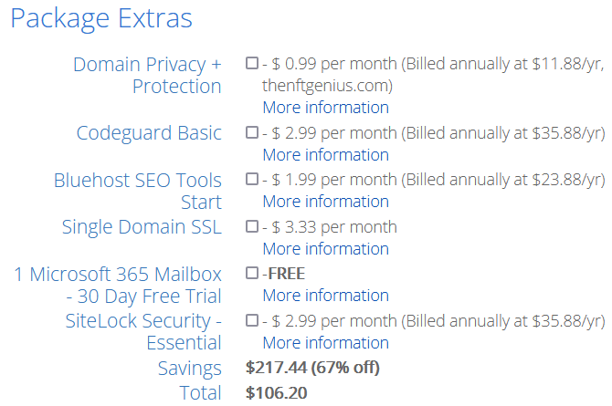 Bluehost Hosting Package Extras