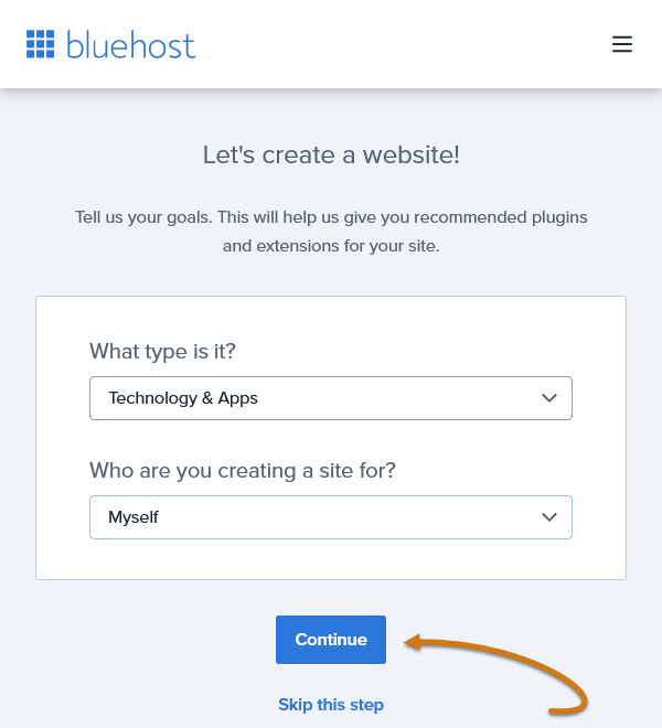 Bluehost Pick Your Blogging Industry