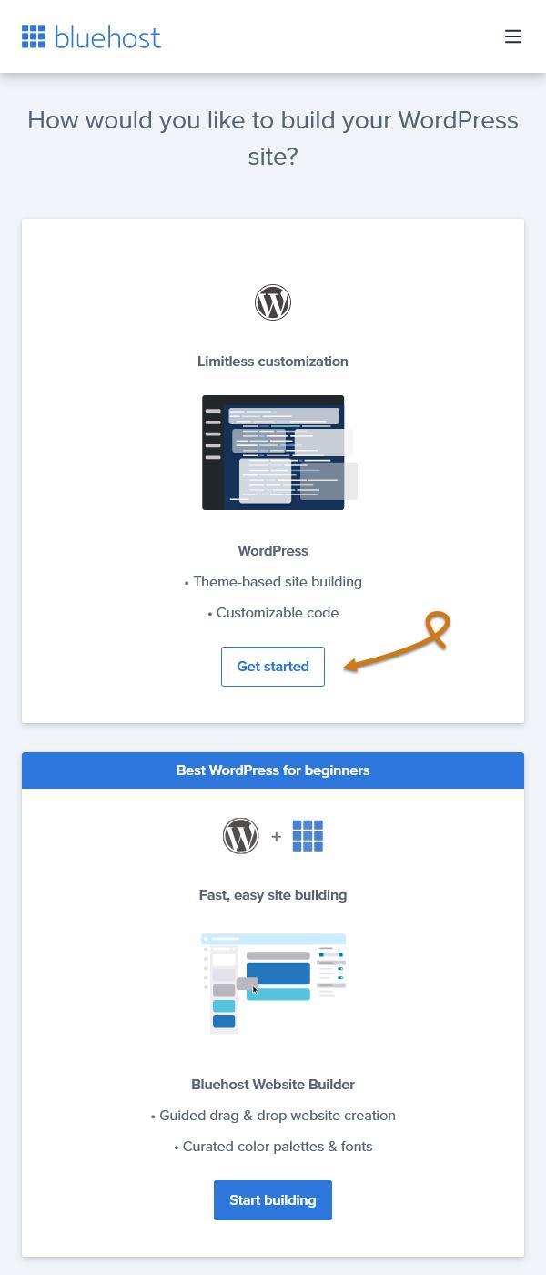 Bluehost Pick Your Website Platform