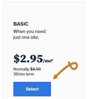 Bluehost Select Basic Hosting Plan