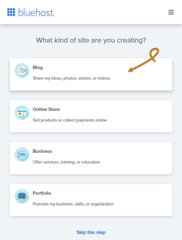 Bluehost Select The Type Of Your Site