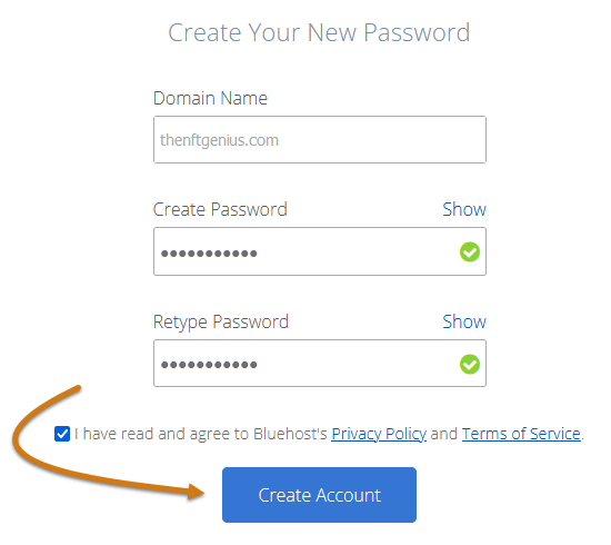 Bluehost Set Your Account Password