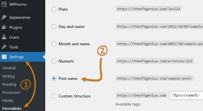 WordPress Dashboard Permalink Settings