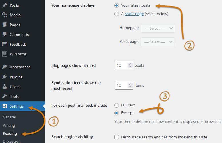 WordPress Dashboard Reading Settings