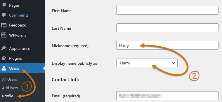 WordPress Update Your Nickname